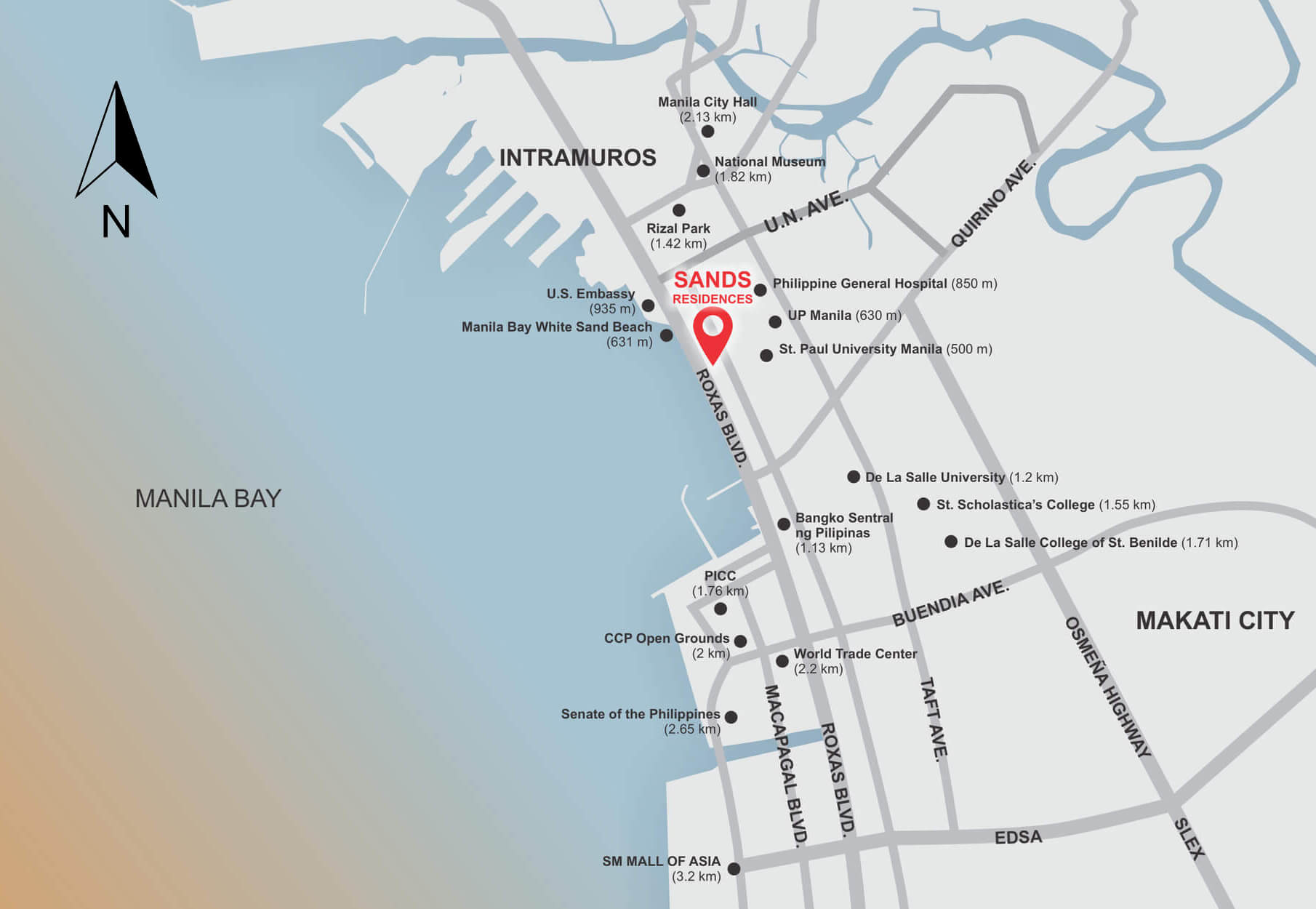 Sands Residences Location Map